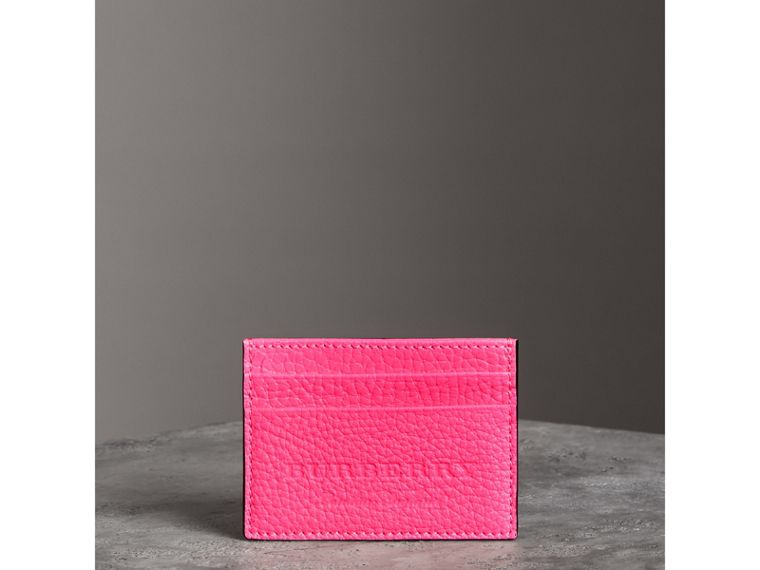 Embossed Textured Leather Card Case in Neon Pink | Burberry - cell image 4