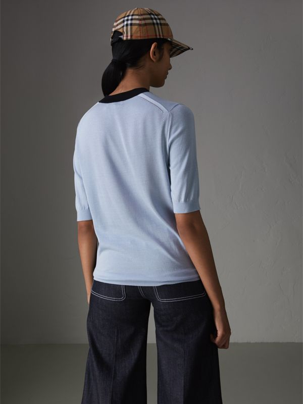 Silk Cashmere T-shirt in Sky Blue - Women | Burberry - cell image 2