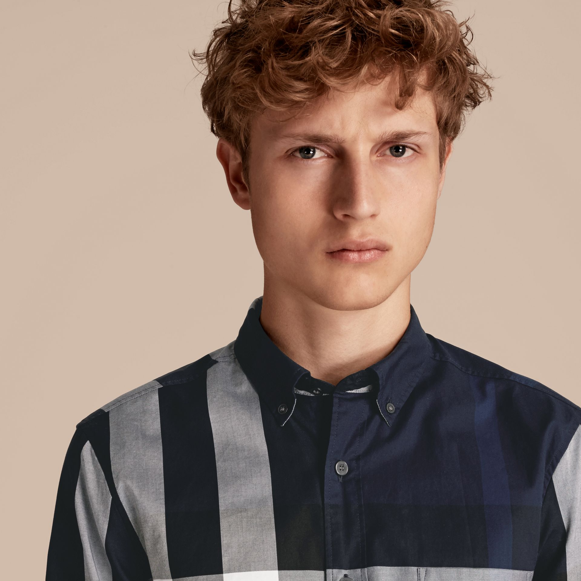 Indigo blue Check Cotton Shirt Indigo Blue - gallery image 5