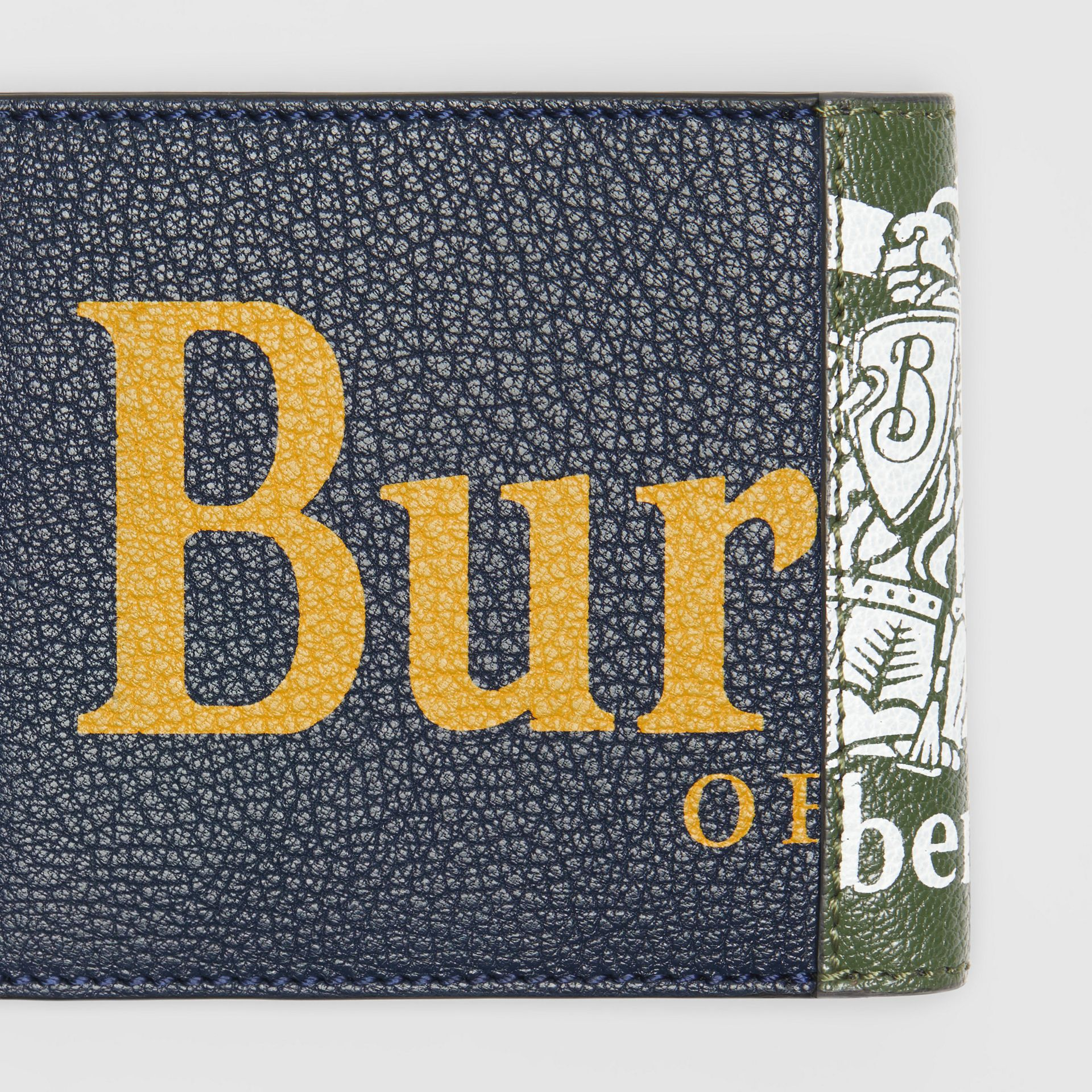 Contrast Logo Leather International Bifold Wallet in Storm Blue - Men | Burberry United Kingdom - gallery image 1