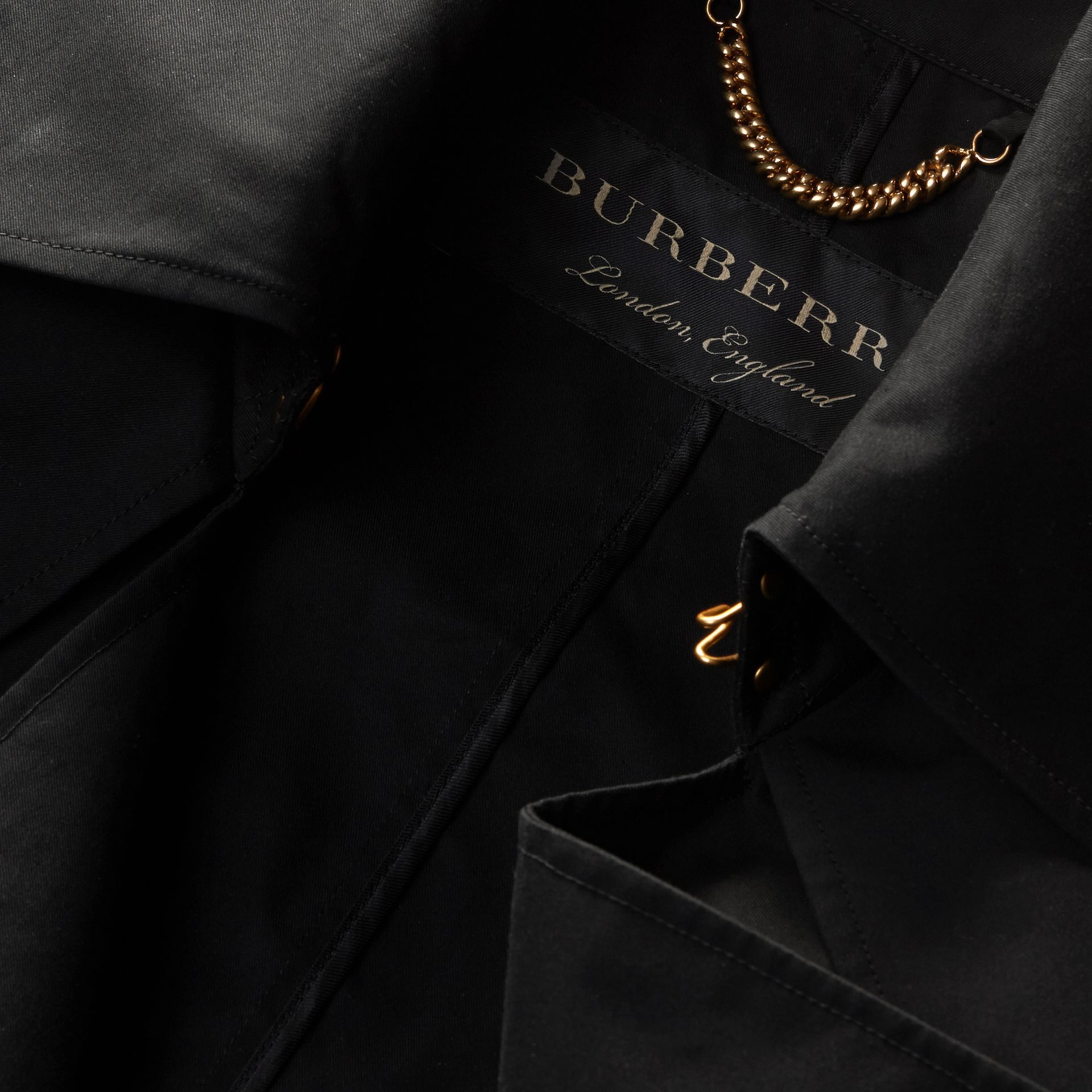Black Cotton Gabardine Deconstructed Trench Jacket - gallery image 2