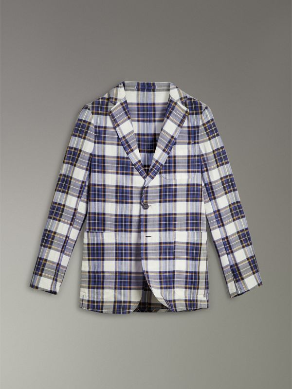 Soho Fit Check Ramie Cotton Tailored Jacket in Natural White - Men | Burberry - cell image 3