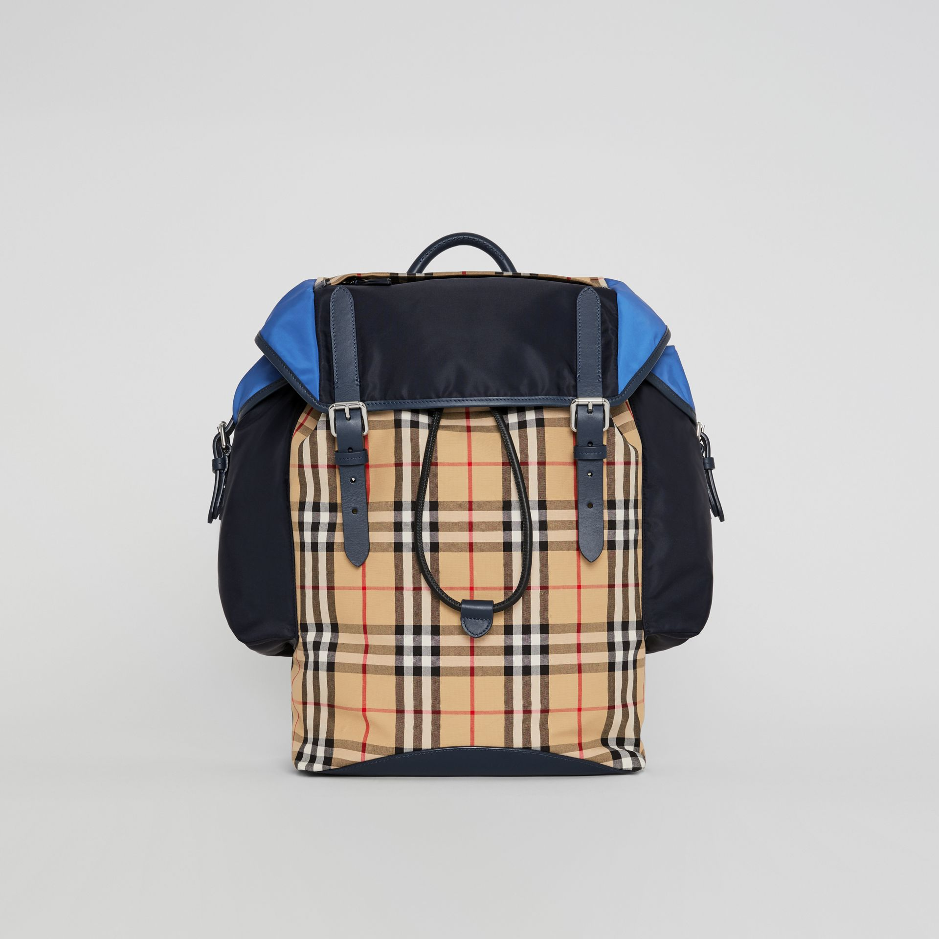 Colour Block Vintage Check and Leather Backpack in Navy - Men | Burberry Australia - gallery image 0