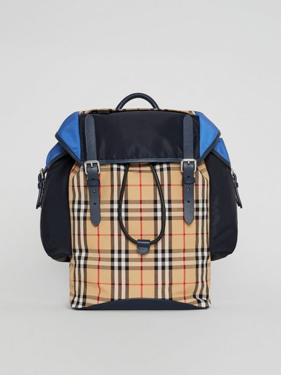 Colour Block Vintage Check and Leather Backpack in Navy