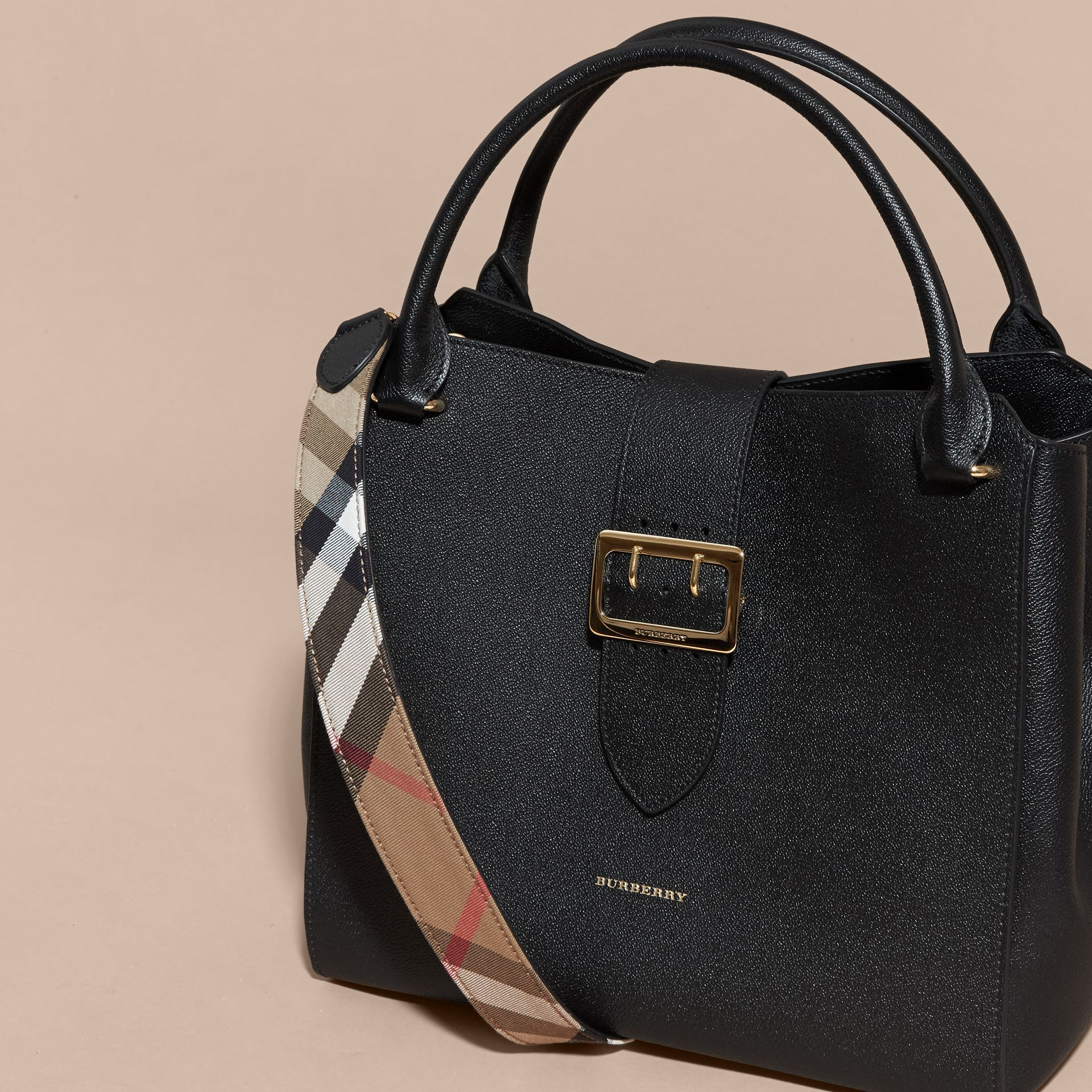 The Large Buckle Tote in Grainy Leather in Black - gallery image 8