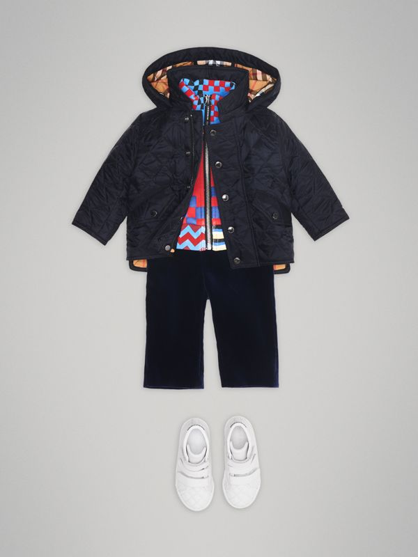 Diamond Quilted Hooded Jacket in Navy - Children | Burberry Australia - cell image 2
