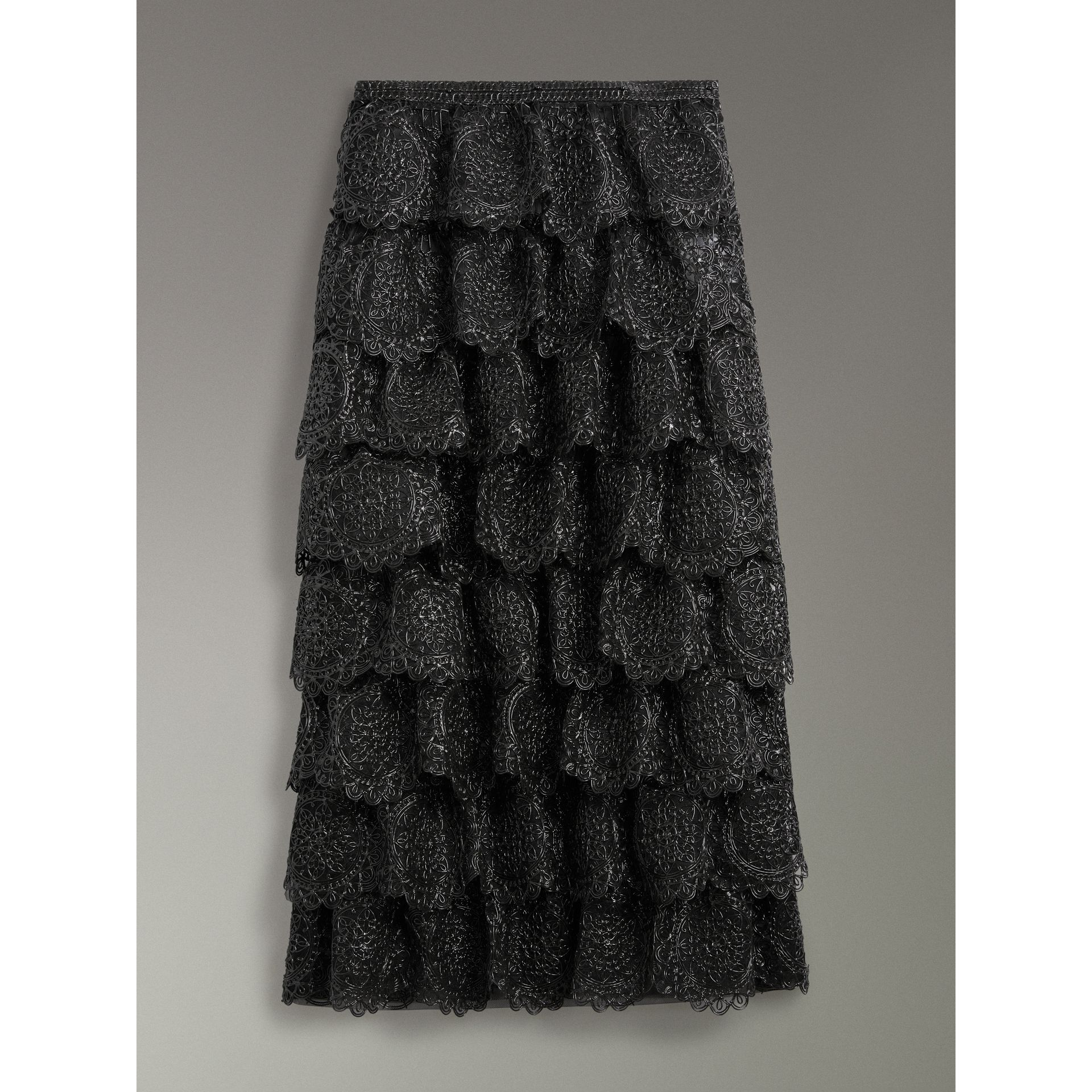 Tiered Silicone Lace Skirt in Black - Women | Burberry - gallery image 3