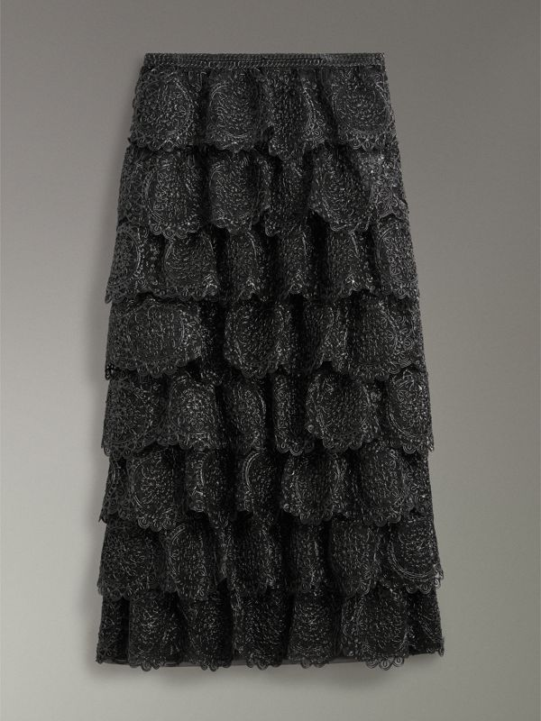 Tiered Silicone Lace Skirt in Black - Women | Burberry - cell image 3