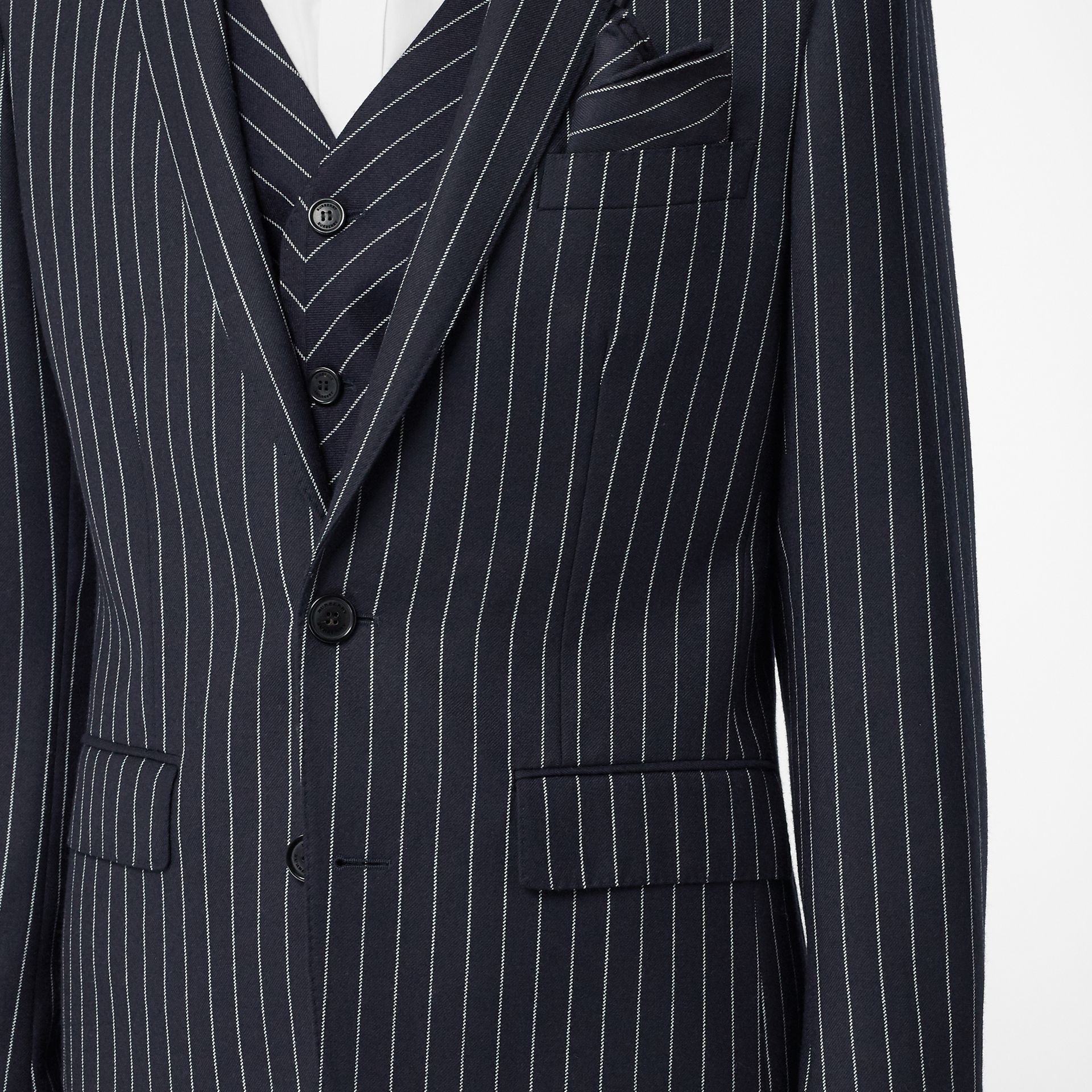 Pinstriped Wool Waistcoat in Dark Navy/white | Burberry Australia - gallery image 1