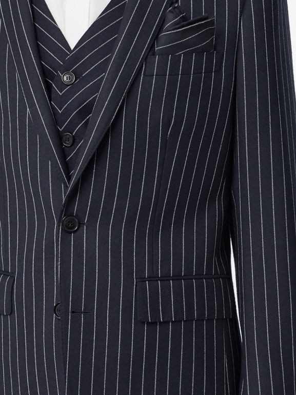 Pinstriped Wool Waistcoat in Dark Navy/white | Burberry Australia - cell image 1