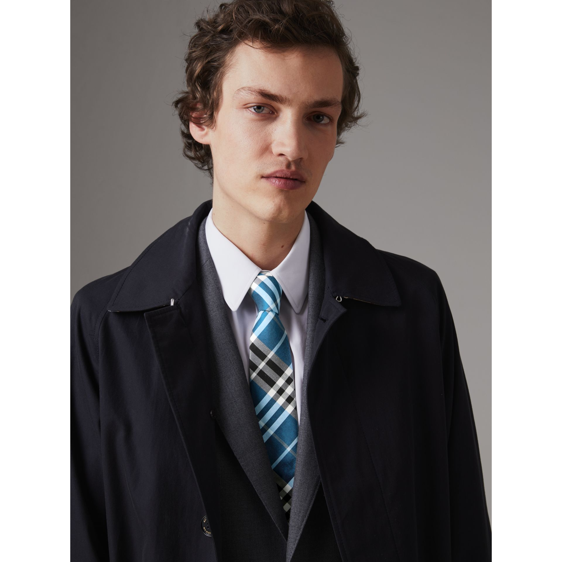 Modern Cut Check Silk Tie in Bright Cobalt - Men | Burberry - gallery image 2