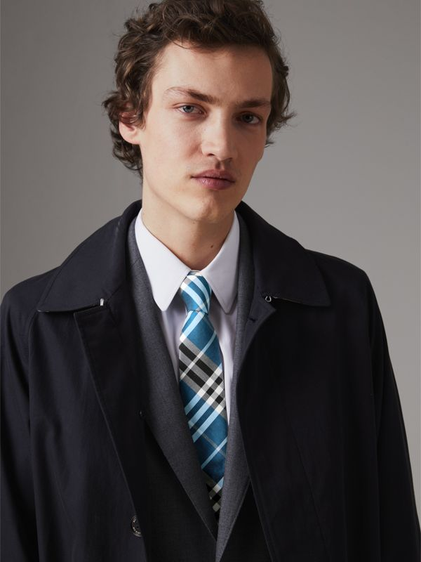 Modern Cut Check Silk Tie in Bright Cobalt - Men | Burberry United Kingdom - cell image 2