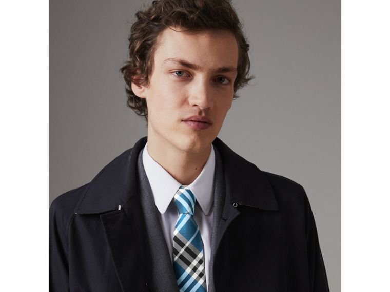 Modern Cut Check Silk Tie in Bright Cobalt - Men | Burberry Hong Kong - cell image 2