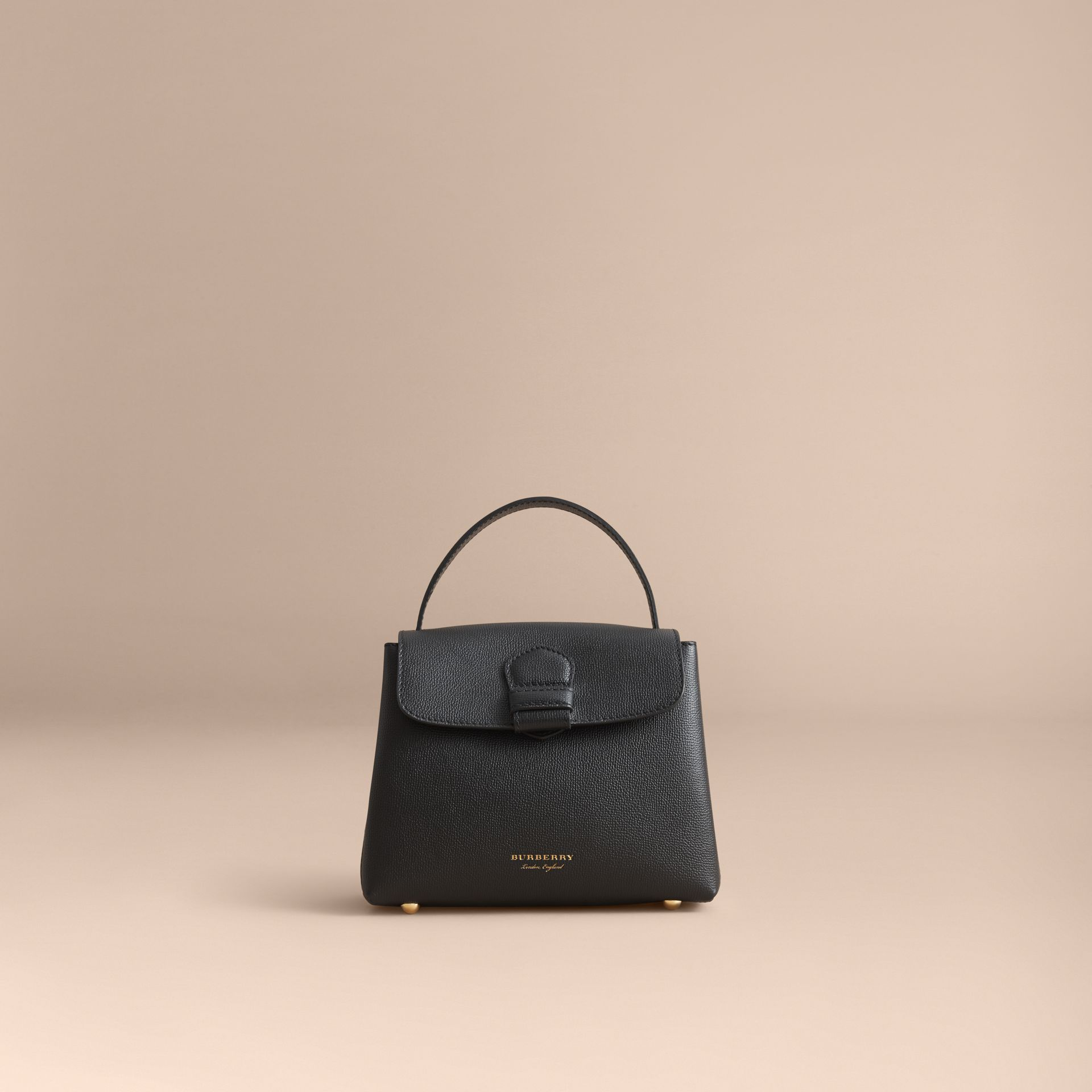 Small Grainy Leather and House Check Tote Bag in Black - Women | Burberry - gallery image 8