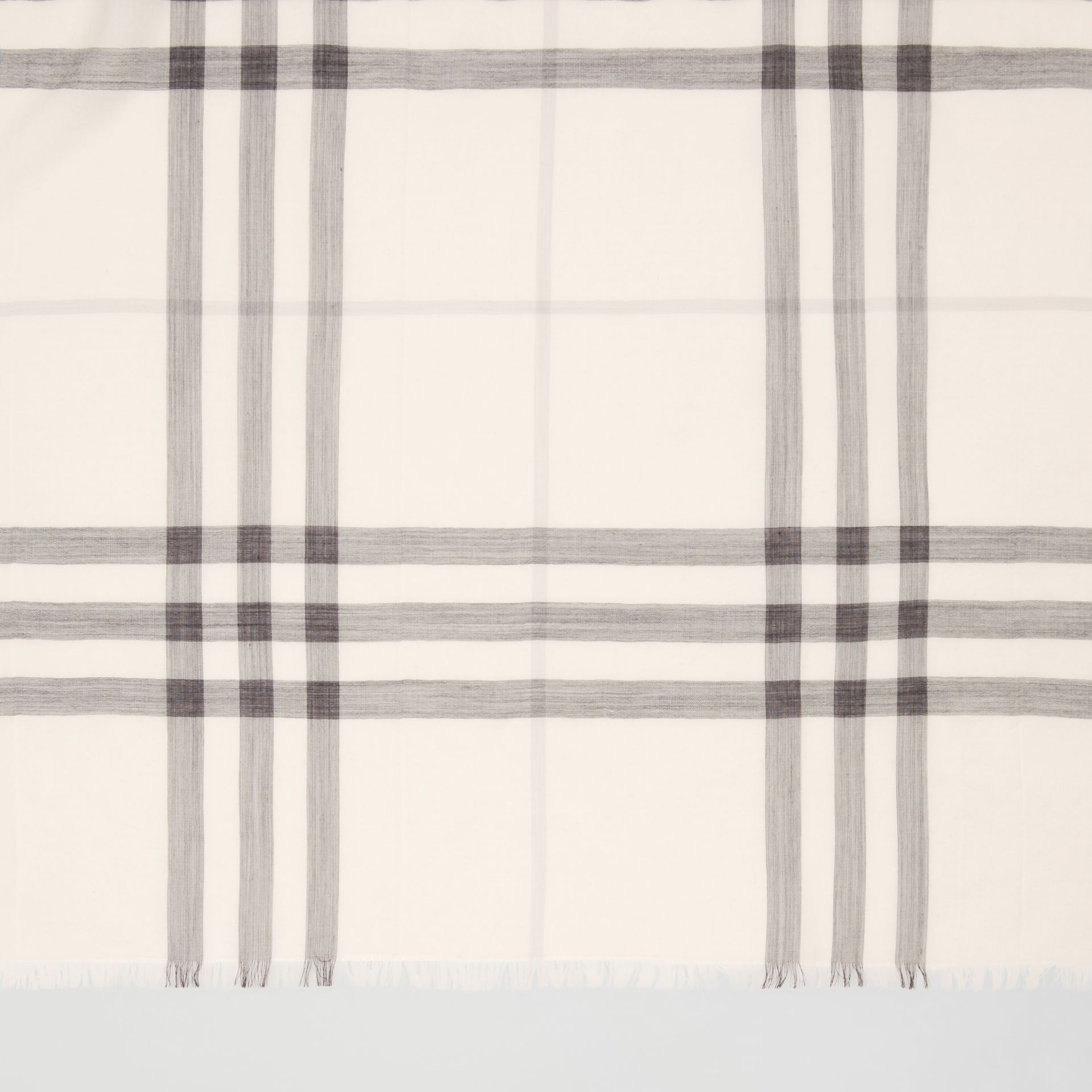 Lightweight Check Wool Silk Scarf in White/light Grey | Burberry - gallery image 1