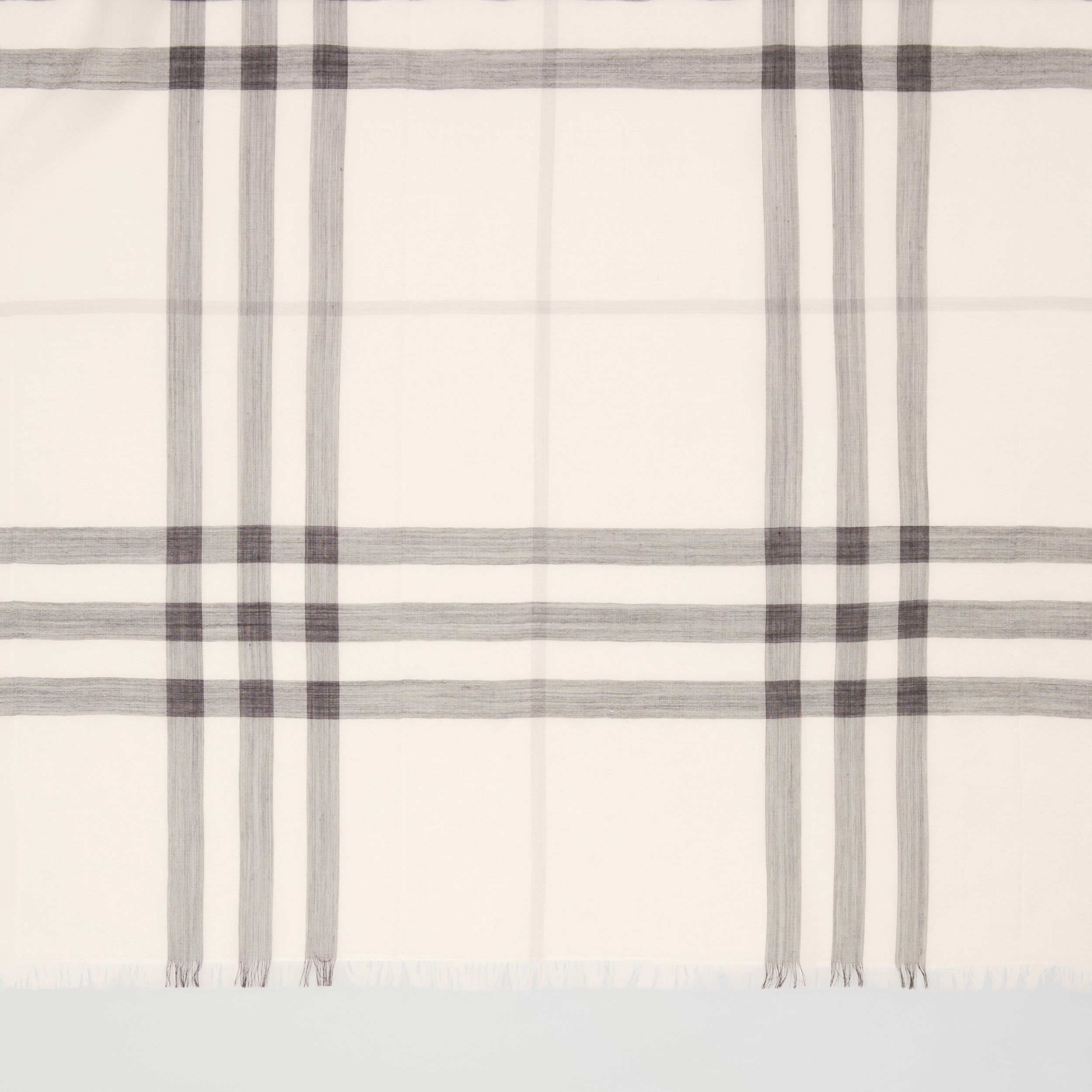 Lightweight Check Wool Silk Scarf in White/light Grey | Burberry - 2