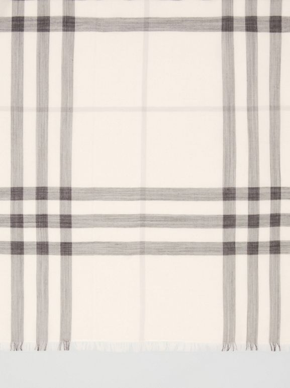 Lightweight Check Wool Silk Scarf in White/light Grey | Burberry - cell image 1