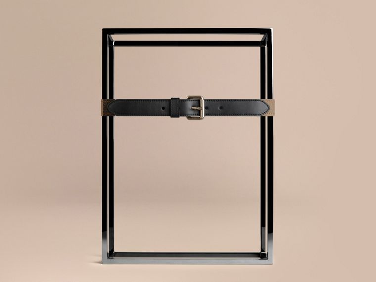 Black Canvas Check and Leather Belt - cell image 1
