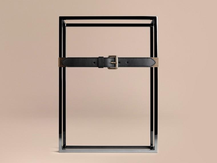 Schwarz Canvas-Check-Gürtel mit Lederbesatz - cell image 1