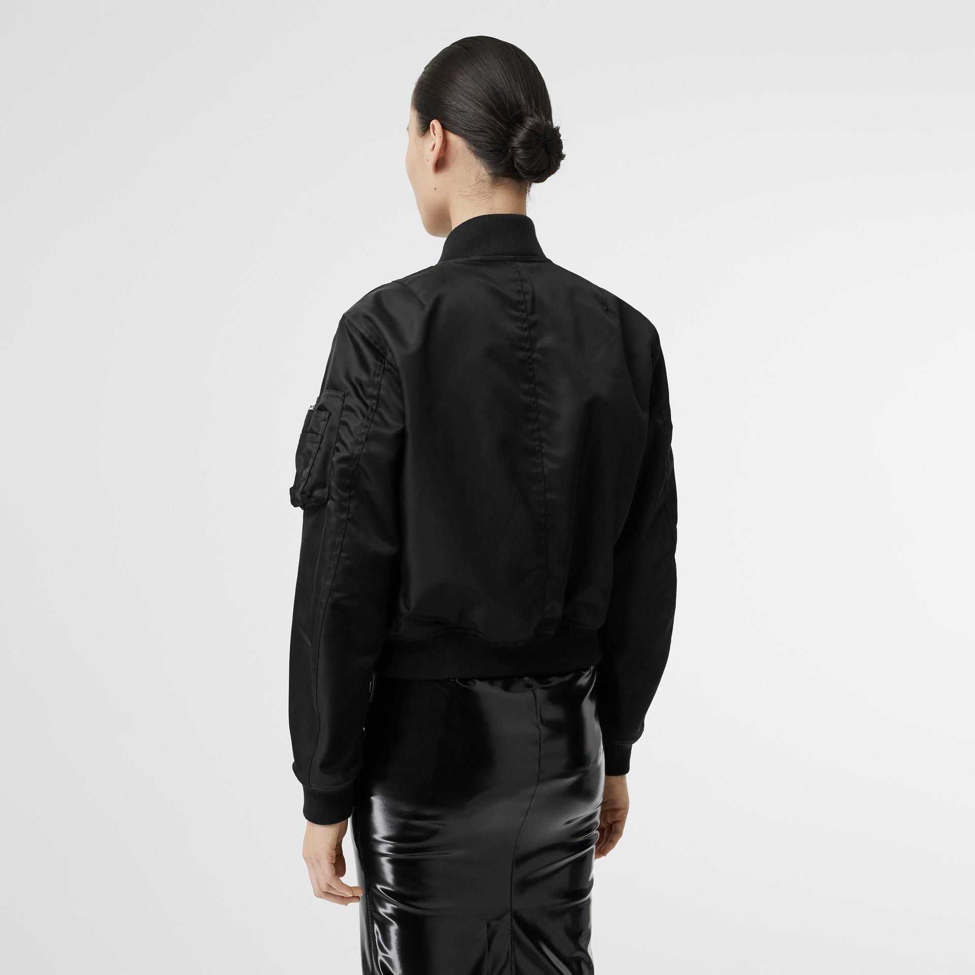 Union Jack Motif Nylon Bomber Jacket in Black - Women | Burberry Australia - gallery image 2