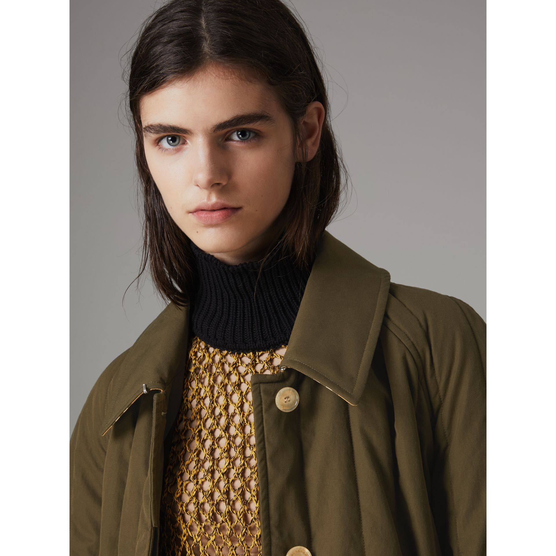 Quilted Tropical Gabardine Car Coat in Dark Military Khaki - Women | Burberry - gallery image 6