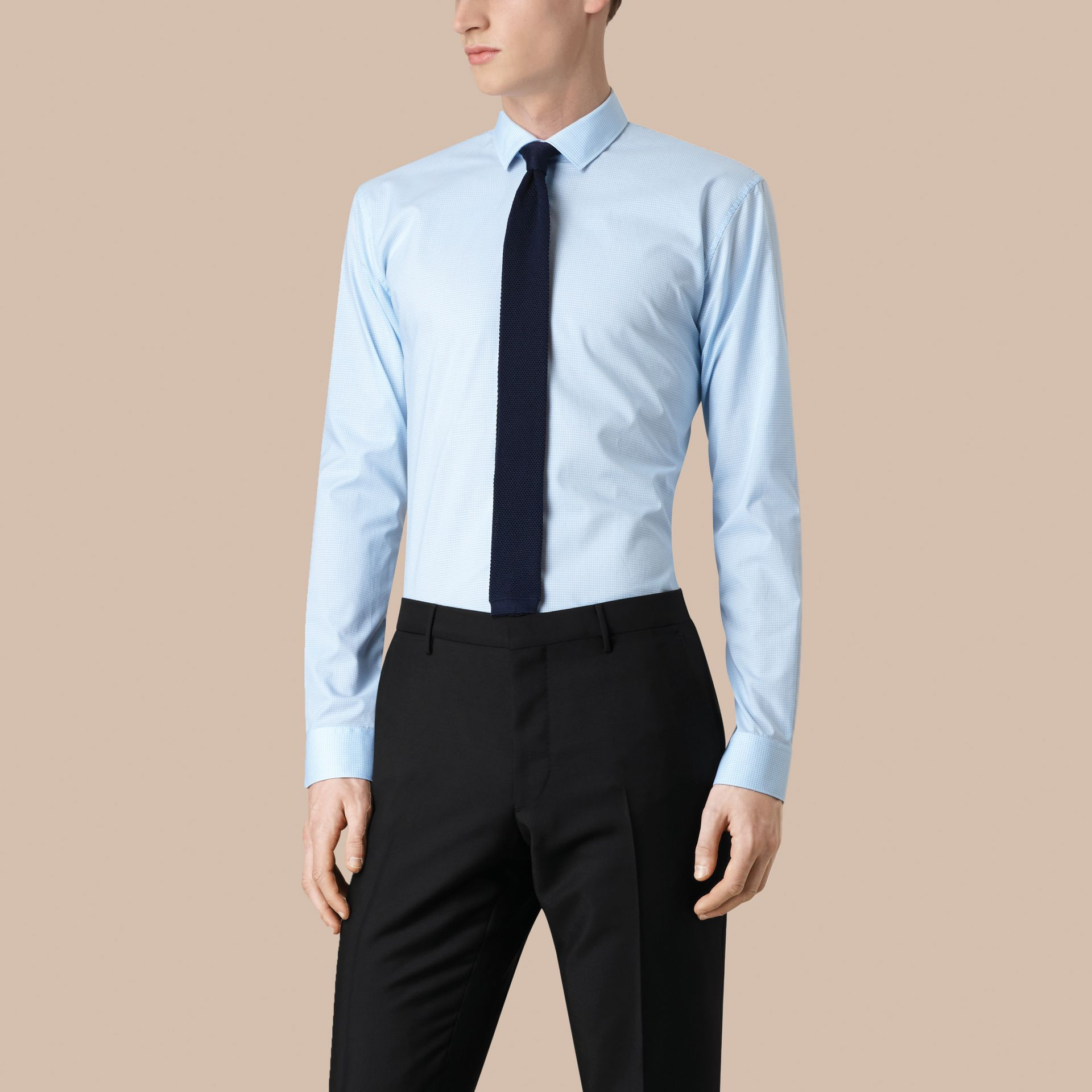 Modern Fit Gingham Cotton Poplin Shirt in City Blue - Men | Burberry - gallery image 1
