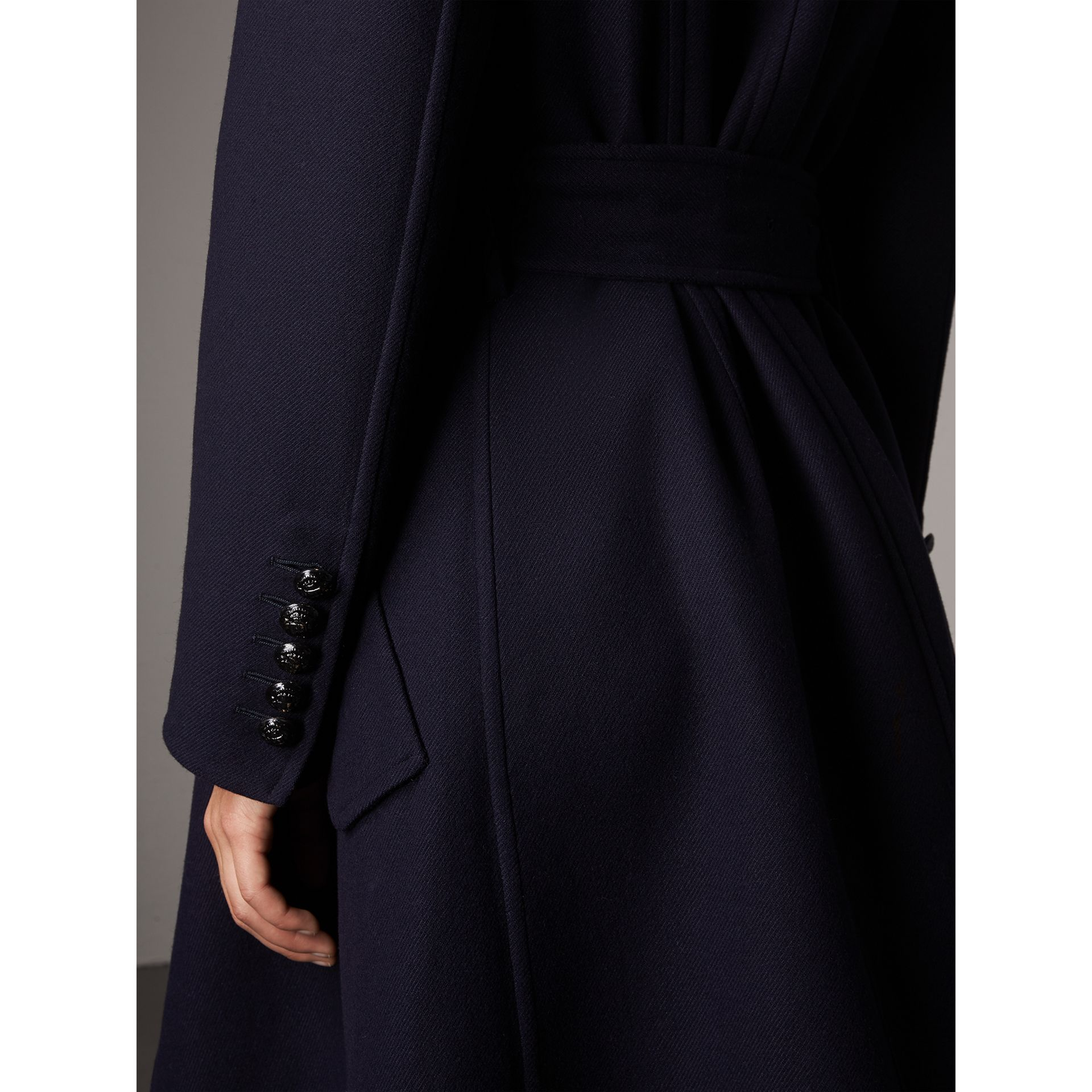 Double-faced Wool Cashmere Wrap Coat in Navy - Women | Burberry Australia - gallery image 2