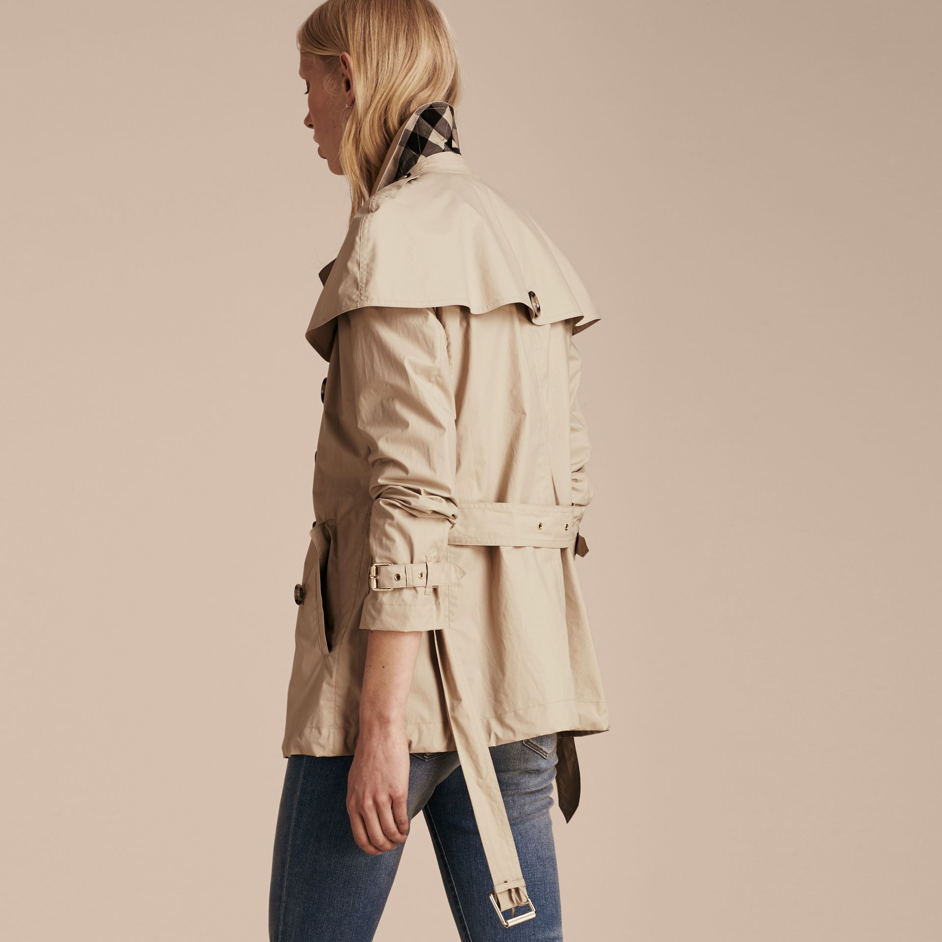 Stone Lightweight Cape Detail Cotton Trench Coat - gallery image 3