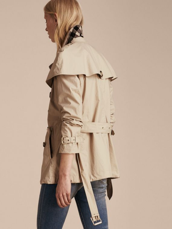 Stone Lightweight Cape Detail Cotton Trench Coat Stone - cell image 2