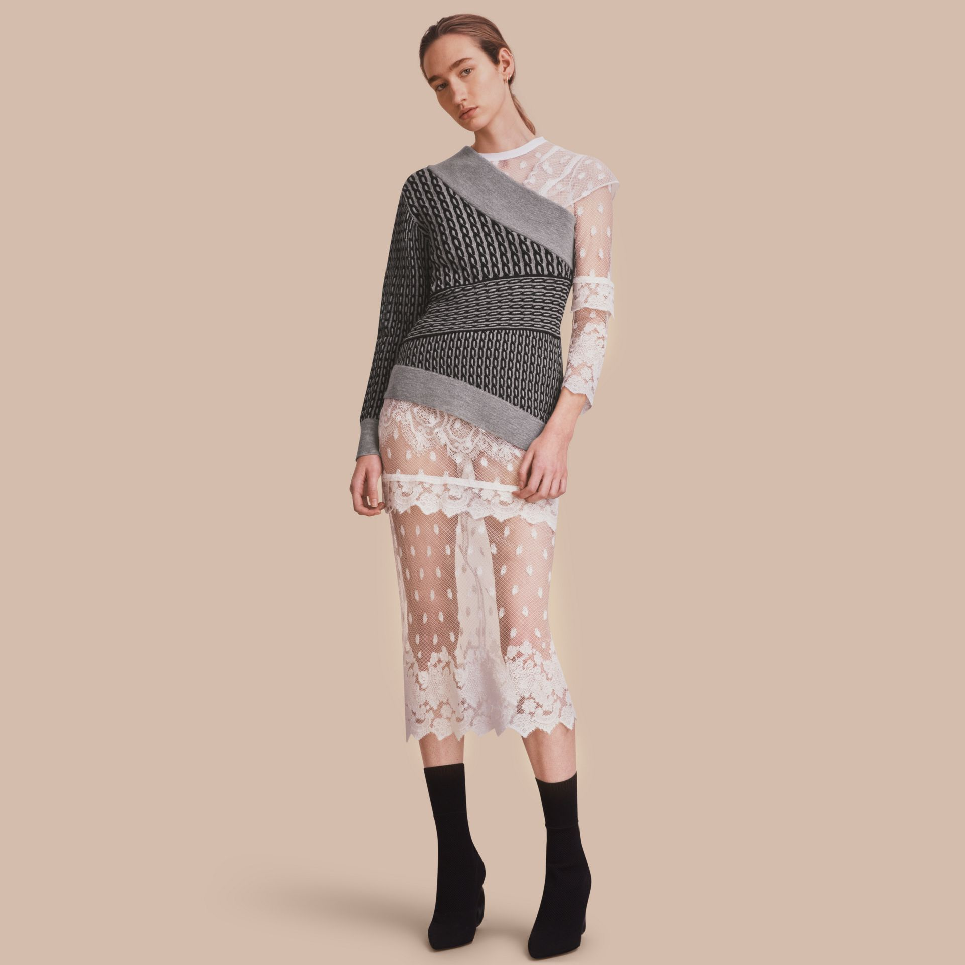 Cable Knit Wool Blend One-shoulder Sweater - Women | Burberry - gallery image 1