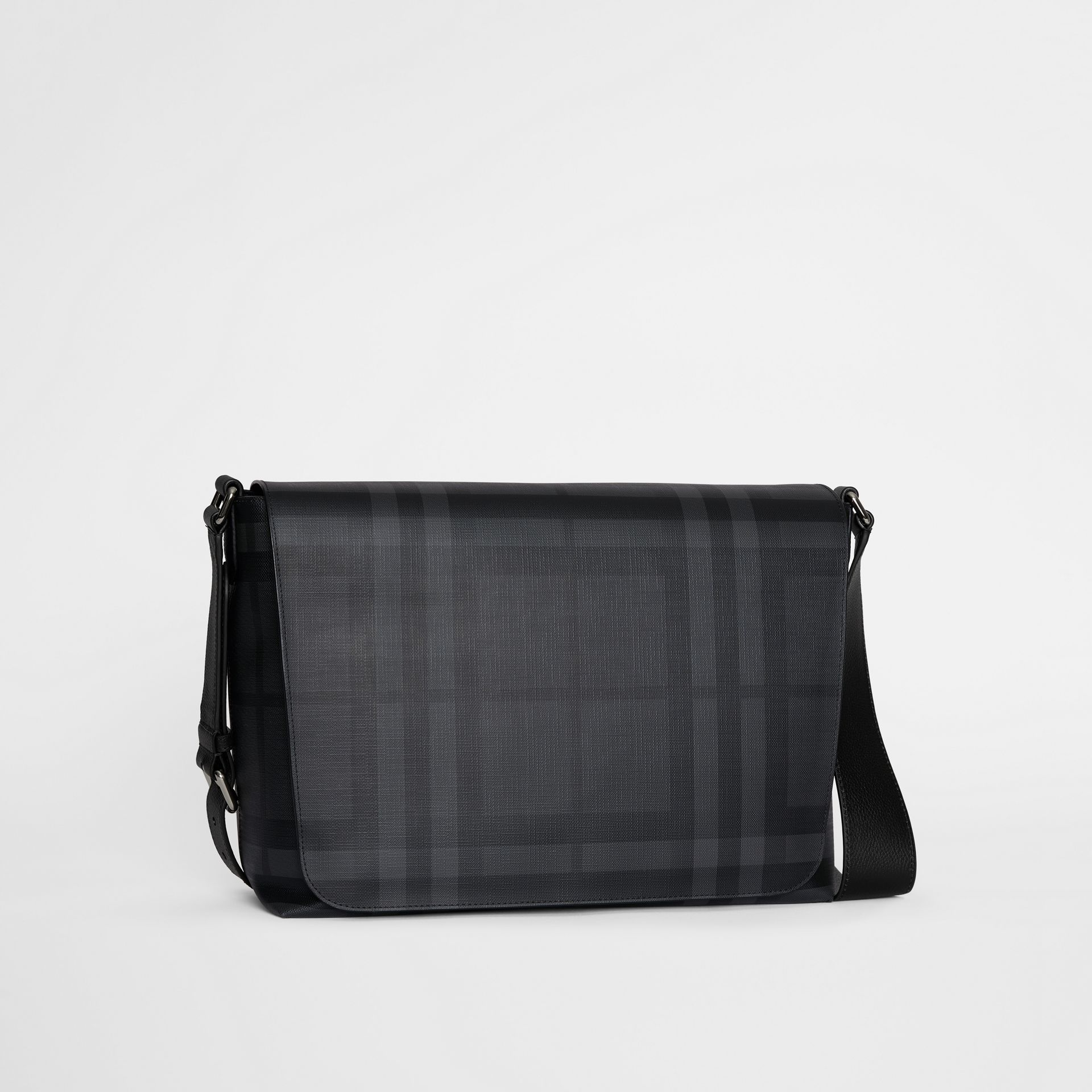 Large London Check Messenger Bag in Charcoal/black | Burberry - gallery image 6