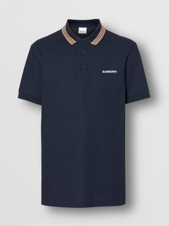 Icon Stripe Detail Cotton Piqué Polo Shirt in Navy