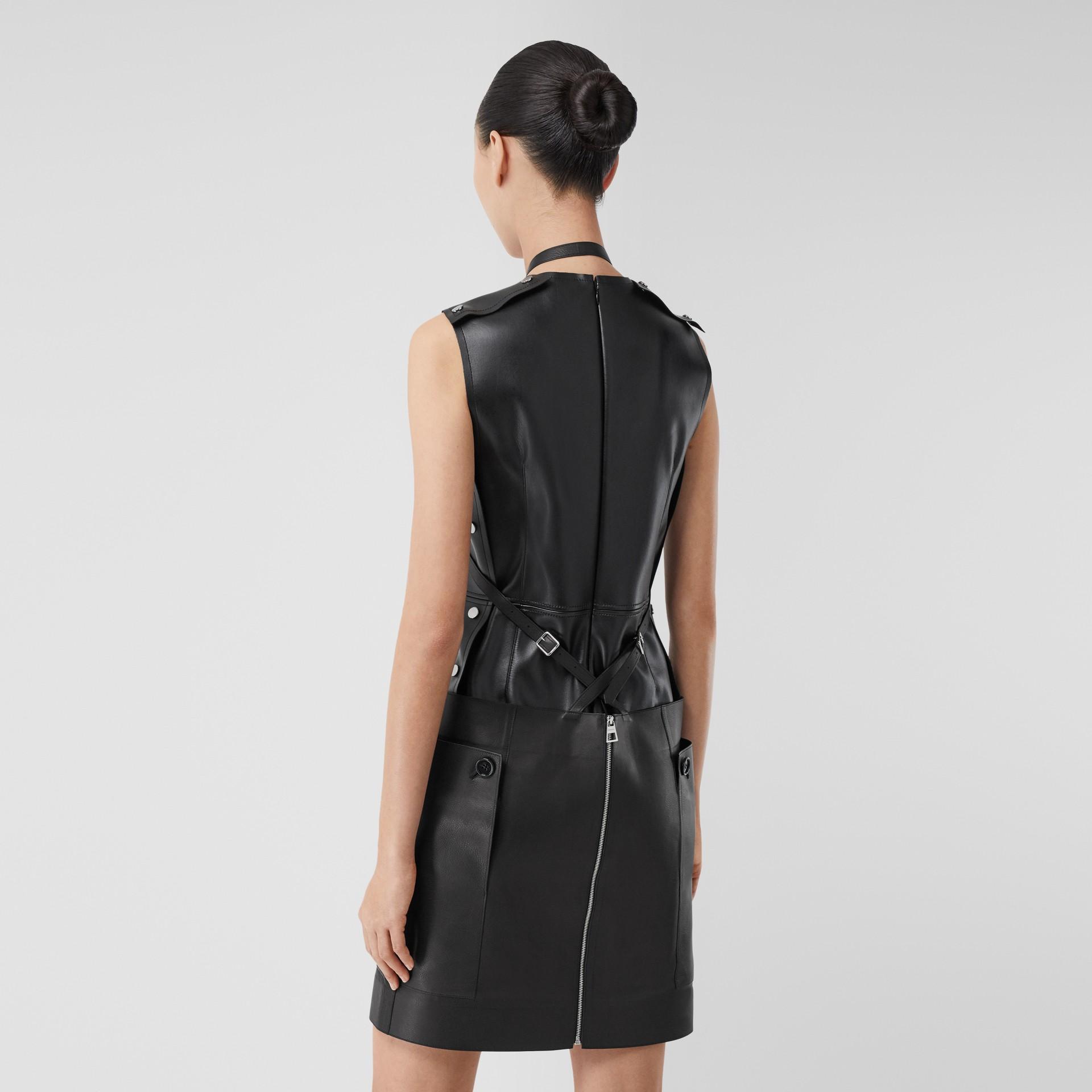 Eyelet Detail Leather Sleeveless Dress in Black - Women | Burberry - gallery image 2