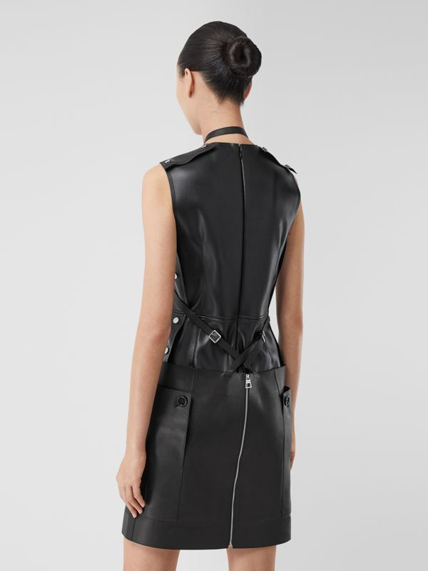Eyelet Detail Leather Sleeveless Dress in Black - Women | Burberry - cell image 2