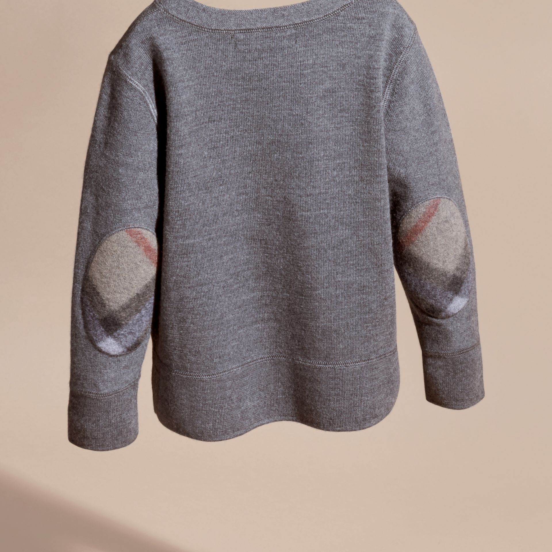 Check Elbow Patch Merino Wool Sweater in Mid Grey Melange | Burberry - gallery image 4