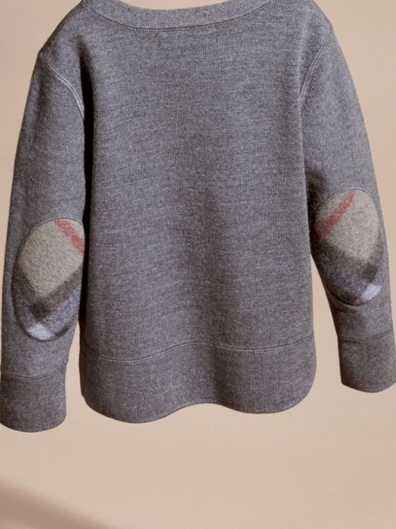 Check Elbow Patch Merino Wool Sweater in Mid Grey Melange | Burberry - cell image 3