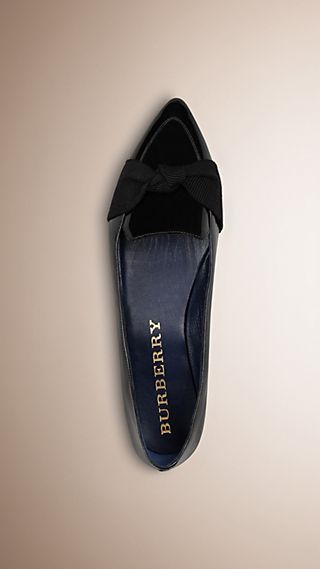 Grosgrain Detail Patent London Leather Loafers