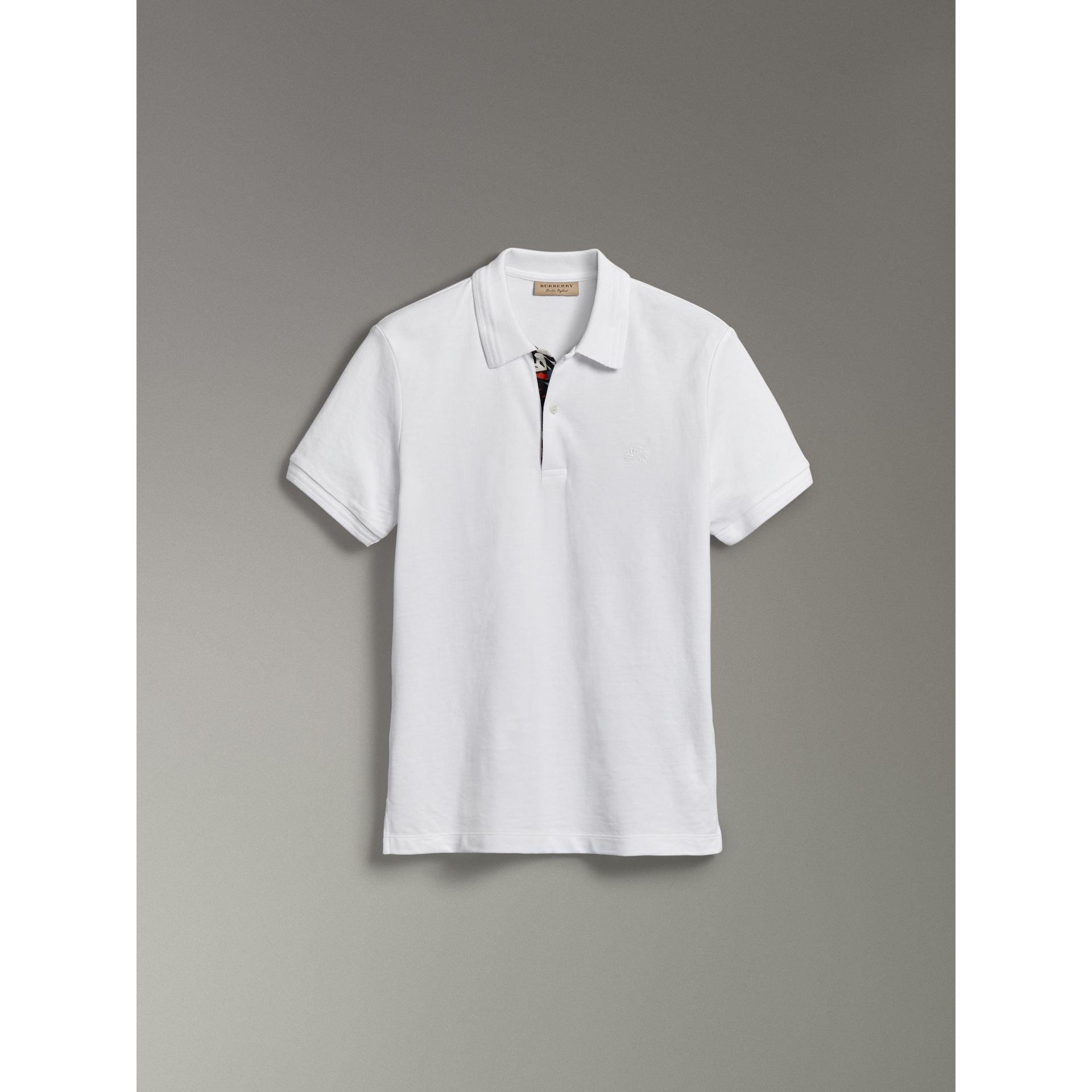 Print Trim Cotton Piqué Polo Shirt in White - Men | Burberry - gallery image 3