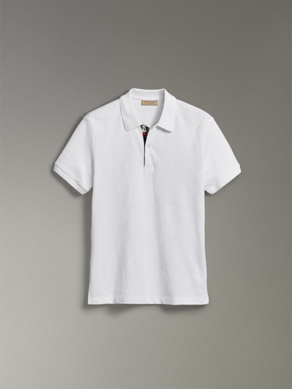 Print Trim Cotton Piqué Polo Shirt in White - Men | Burberry United Kingdom - cell image 3
