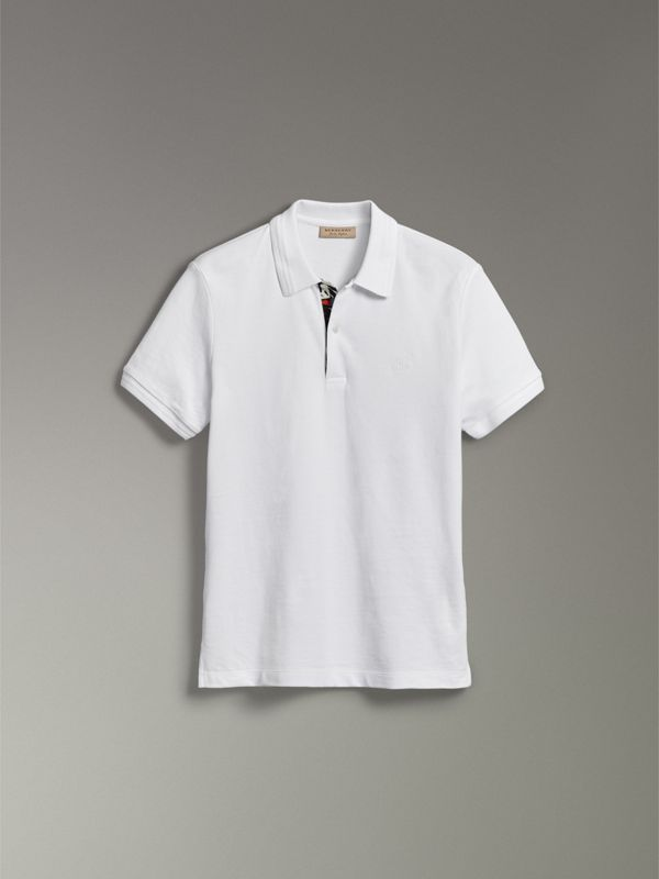 Print Trim Cotton Piqué Polo Shirt in White - Men | Burberry - cell image 3