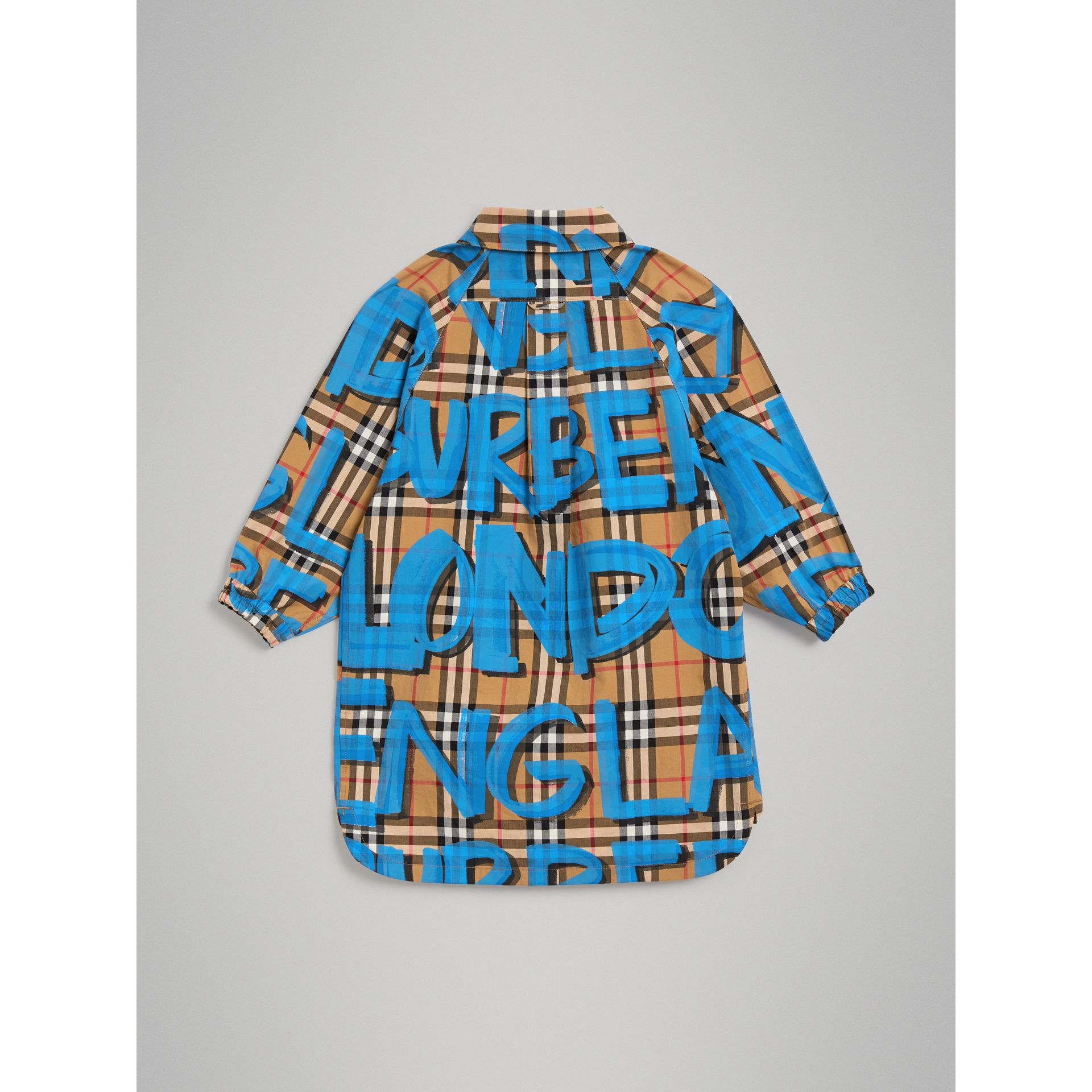 Graffiti Print Vintage Check Cotton Shirt Dress in Bright Blue - Girl | Burberry United Kingdom - gallery image 3