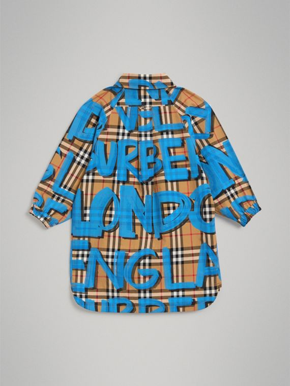 Graffiti Print Vintage Check Cotton Shirt Dress in Bright Blue - Girl | Burberry - cell image 3
