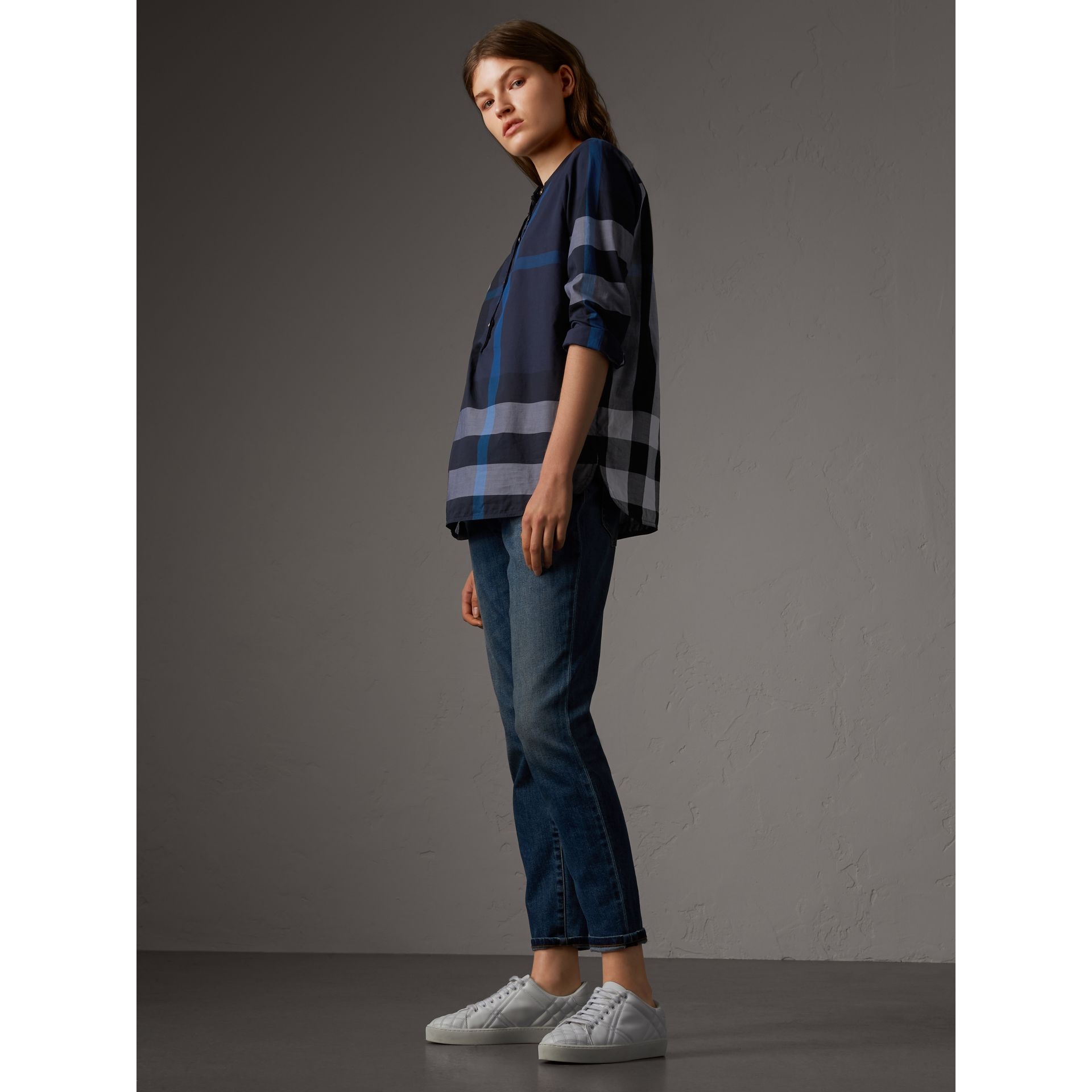 Check Grandad Collar Shirt in Navy - Women | Burberry United Kingdom - gallery image 4
