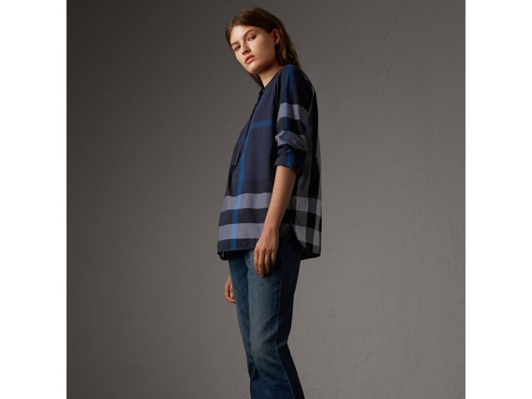 Check Grandad Collar Shirt in Navy - Women | Burberry - cell image 4