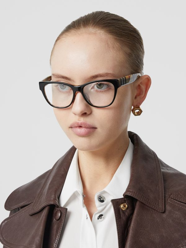 Vintage Check Detail Square Optical Frames in Black/beige - Women | Burberry - cell image 2