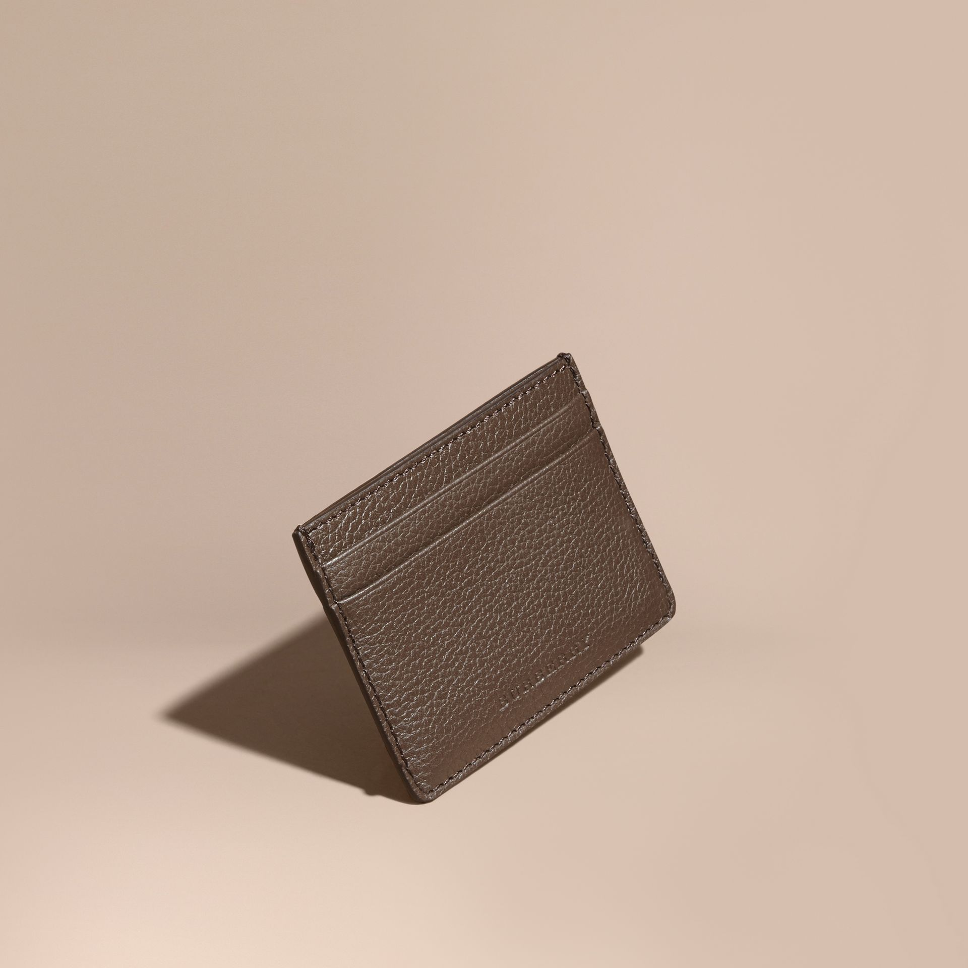 Deep taupe brown Grainy London Leather Card Case Deep Taupe Brown - gallery image 1