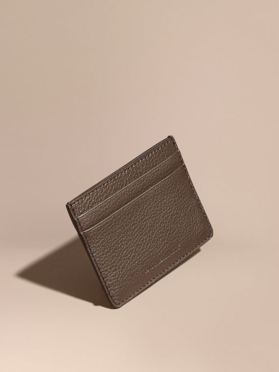 Grainy London Leather Card Case Deep Taupe Brown