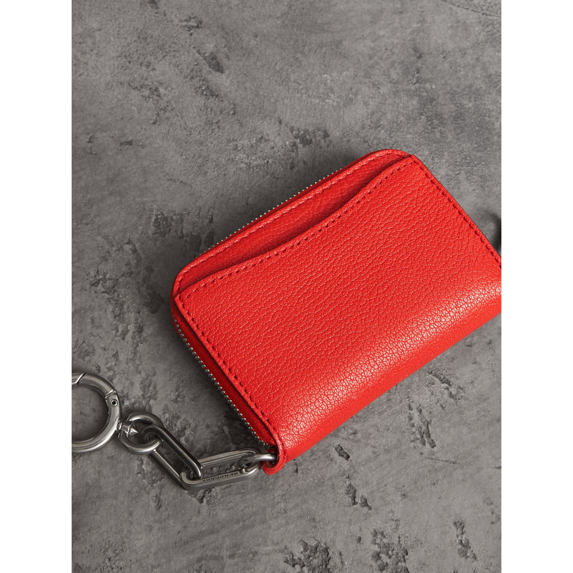 Link Detail Leather Ziparound Wallet in Bright Red | Burberry Australia - gallery image 3