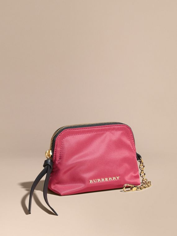 Small Zip-top Technical Nylon Pouch in Plum Pink