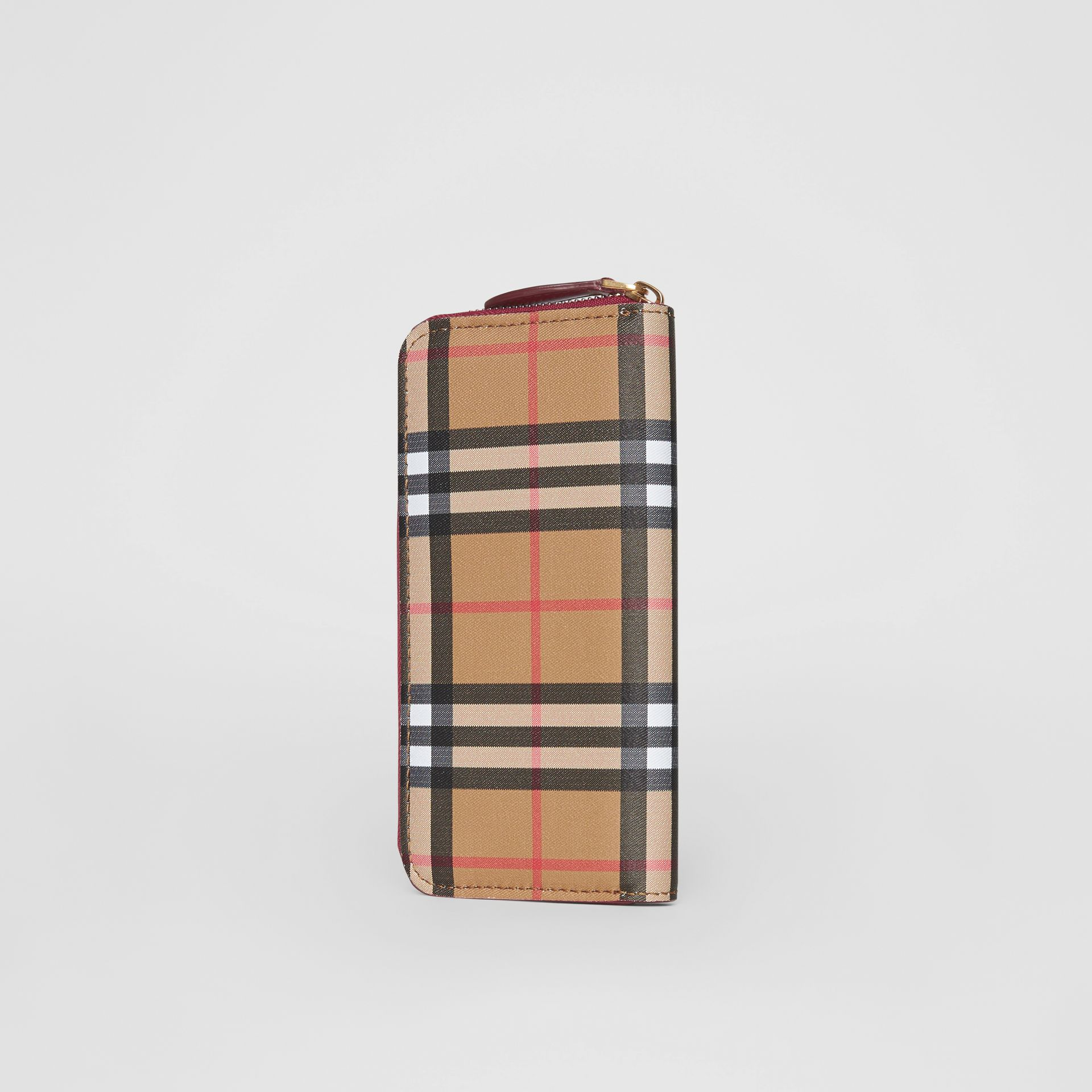 Vintage Check and Leather Ziparound Wallet in Crimson - Women | Burberry United States - gallery image 2